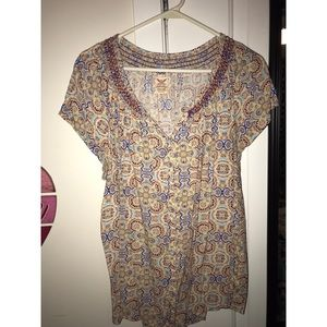 Faded Glory printed short sleeve blouse sz XXL
